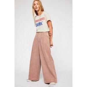 We The Free Blush Wide Leg Corduroy Pleated Pants